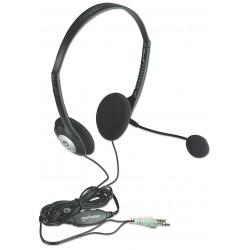 Manhattan 164429 audífono y auriculare Auriculares Diadema Conector de 3.5 mm Negro, Plata